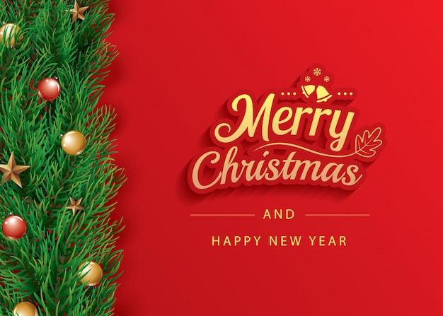 Modello dell'insegna della cartolina d'auguri di buon natale e felice anno nuovo.