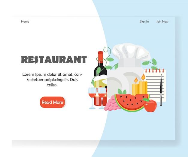 Modello dell'insegna della pagina di atterraggio del sito web di vettore del ristorante