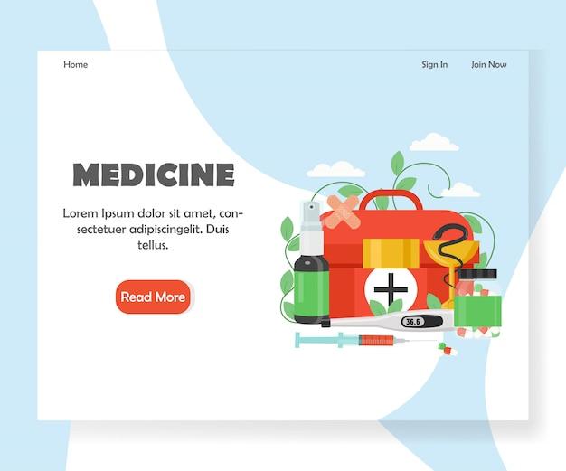 Modello dell'insegna della pagina di atterraggio del sito web di vettore della medicina