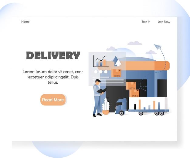 Modello dell'insegna della pagina di atterraggio del sito web di vettore di consegna