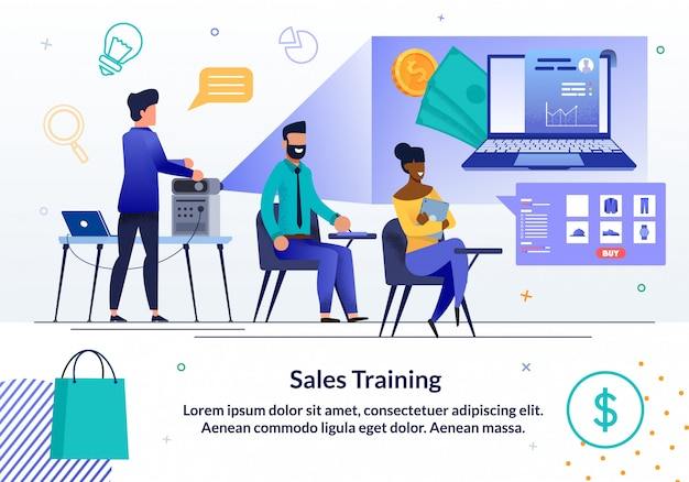 Modello dell'insegna di addestramento di affari di vendite online
