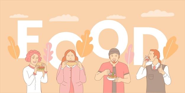 Modello dell'insegna di concetto di parola dell'alimento. la gente che mangia la torta e cupcake, hot dog e hamburger.