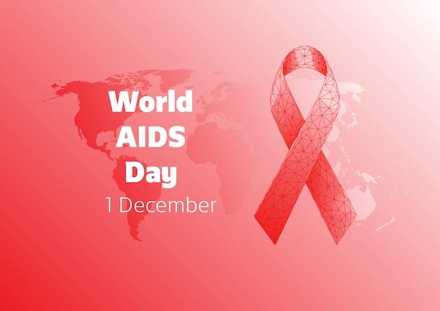 Modello dell'insegna di giornata mondiale contro l'aids con l'arco del nastro poligonale basso rosso e la mappa di mondo su fondo rosso