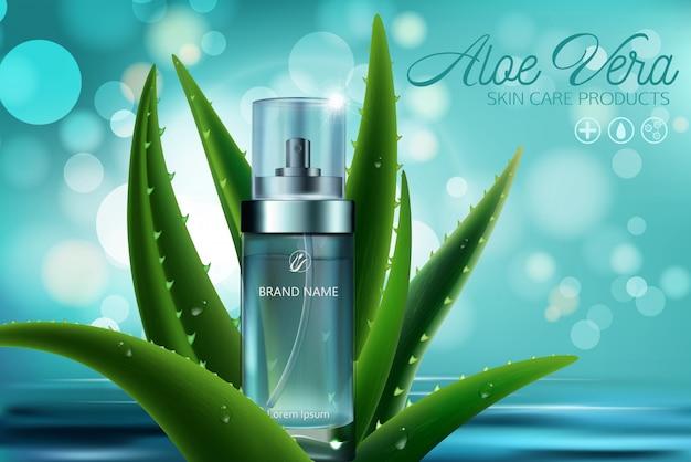 Modello dell'insegna di pubblicità dei cosmetici del siero della pelle dell'aloe vera