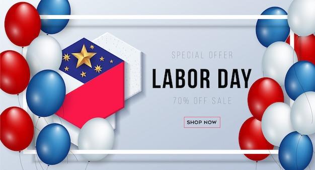 Modello dell'insegna di pubblicità di promozione di vendita di festa del lavoro
