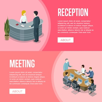 Modello dell'insegna di ricevimento aziendale e di riunione d'affari