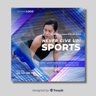 Modello dell'insegna di sport con la foto
