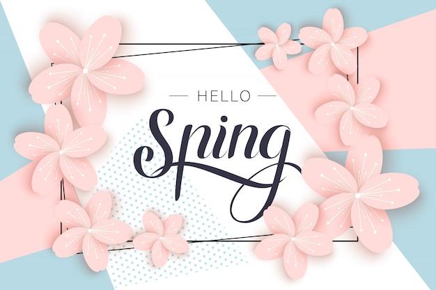 Modello dell'insegna di vendita della primavera con il fiore di carta