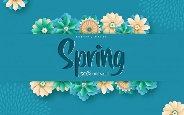 Modello dell'insegna di vendita della primavera con la struttura del taglio della carta
