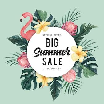Modello dell'insegna di vendita di estate con il fenicottero dell'acquerello e l'illustrazione floreale tropicale