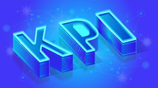 Modello dell'insegna di vettore isometrico di servizio di kpi 3d