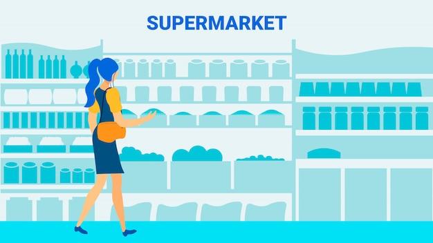 Modello dell'insegna di vettore piano del cliente del supermercato