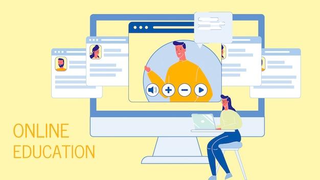 Modello dell'insegna di web di vettore piano di istruzione online