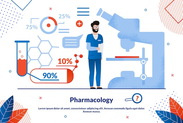 Modello dell'insegna piana di scienza di farmacologia
