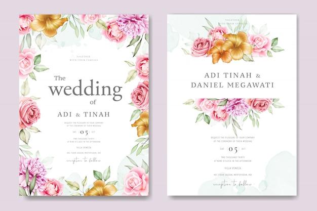 Modello dell'insieme della partecipazione di nozze dell'acquerello con bei floreale e foglie