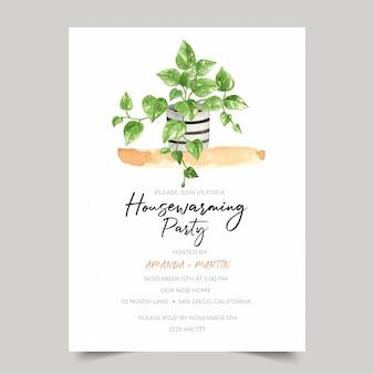 Modello dell'invito del partito di inaugurazione di una nuova casa con l'illustrazione della pianta urbana dell'acquerello dell'edera dell'edera del diavolo