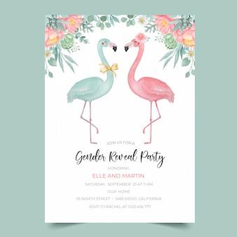 Modello dell'invito del partito di rivelazione di genere con l'illustrazione del fiore e del fenicottero dell'acquerello