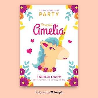 Modello dell'invito del partito principessa castello unicorno disegnato a mano