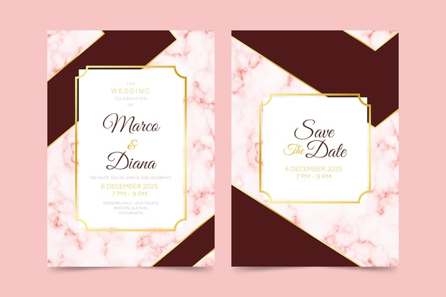 Modello dell'invito della carta di marmo di nozze