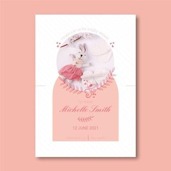 Modello dell'invito della doccia della neonata con la foto