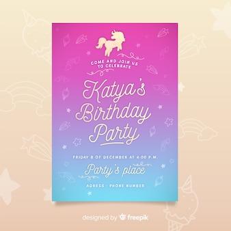 Modello dell'invito della festa di compleanno con unicorno
