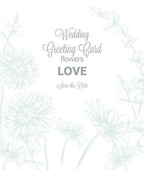 Modello dell'invito della partecipazione di nozze della linea arte dei fiori della margherita