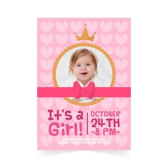 Modello dell'invito della ragazza della doccia di bambino con l'immagine