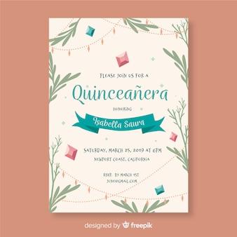 Modello dell'invito delle foglie disegnate a mano di quinceanera