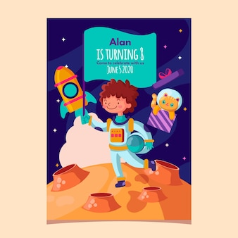 Modello dell'invito di compleanno dei bambini con l'astronauta e lo spazio