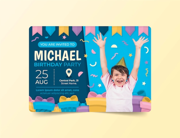 Modello dell'invito di compleanno dei bambini con la foto
