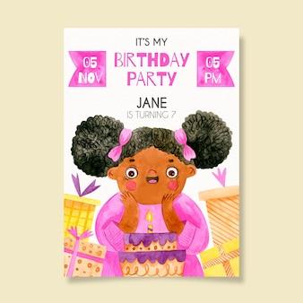 Modello dell'invito di compleanno dei bambini con la ragazza