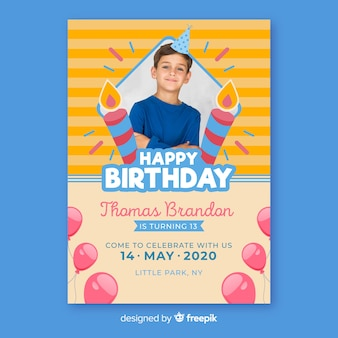 Modello dell'invito di compleanno dei bambini