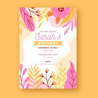 Modello dell'invito di compleanno di progettazione floreale