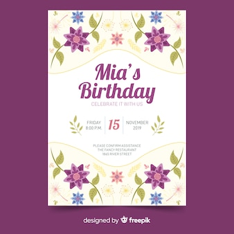 Modello dell'invito di compleanno di stile floreale