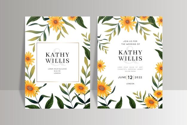 Modello dell'invito di nozze con i fiori