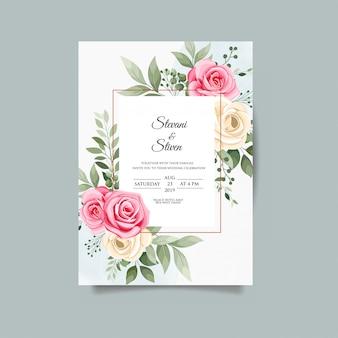 Modello dell'invito di nozze con il fiore di bellezza