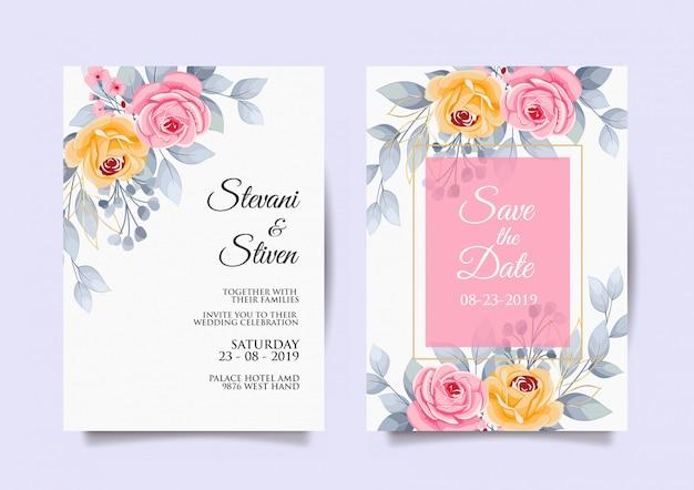 Modello dell'invito di nozze con il fiore rosa e giallo