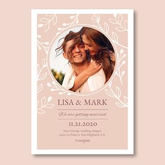 Modello dell'invito di nozze con l'immagine