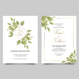 Modello dell'invito di nozze con la decorazione della foglia verde di stile dell'acquerello