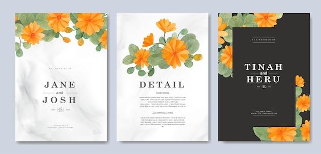 Modello dell'invito di nozze con la decorazione floreale gialla dell'acquerello