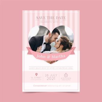 Modello dell'invito di nozze con la foto delle coppie