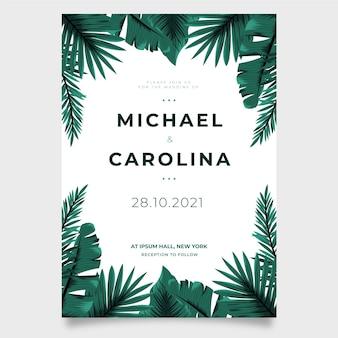 Modello dell'invito di nozze con le foglie tropicali