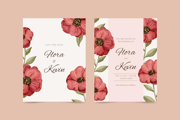 Modello dell'invito di nozze con un grande fiore rosso