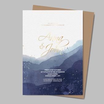 Modello dell'invito di nozze dell'acquerello con testo in oro