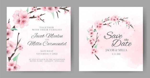 Modello dell'invito di nozze dell'acquerello del fiore di ciliegia. biglietto di auguri fiore ghirlanda.