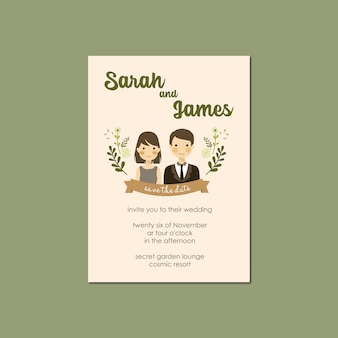 Modello dell'invito di nozze dell'illustrazione del ritratto delle coppie