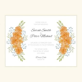 Modello dell'invito di nozze dell'ornamento del fiore dell'acquerello