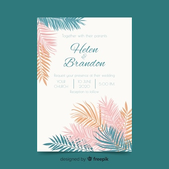 Modello dell'invito di nozze delle foglie di palma di colore pastello