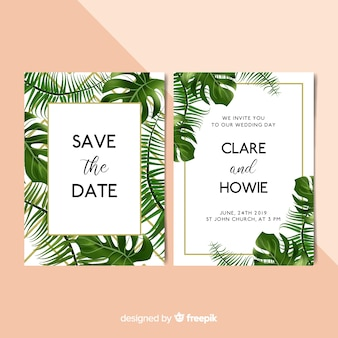 Modello dell'invito di nozze delle foglie di palma realistico