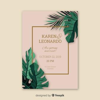 Modello dell'invito di nozze delle foglie di palma